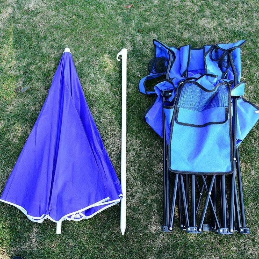 Portable Folding Picnic Chair Umbrella Cooler Beach