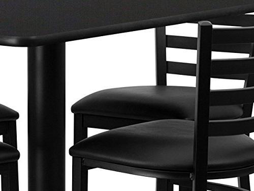 Flash Rectangular Black Laminate Table Set 4 Back Metal - -
