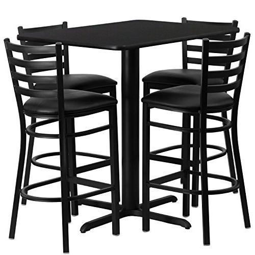 rectangular black laminate table set