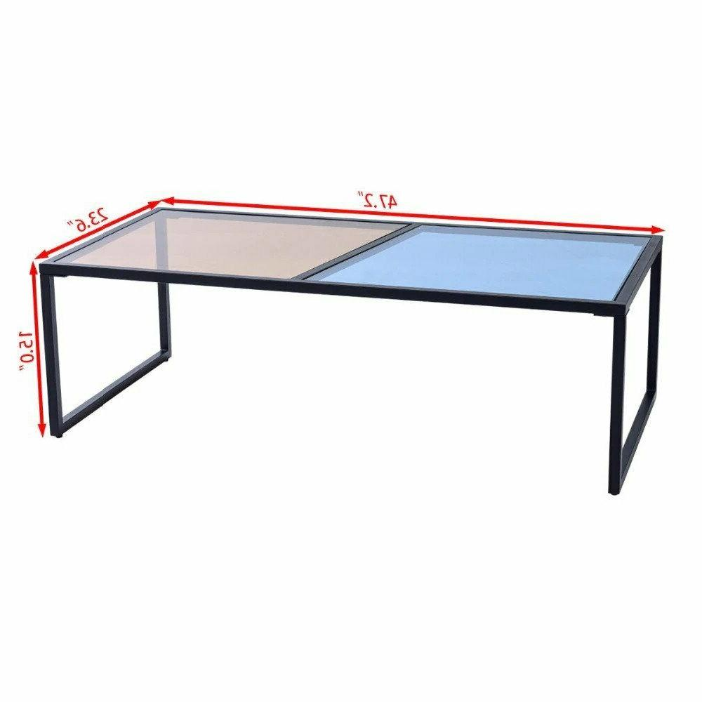 Giantex Rectangular Coffee Tempered Glass Top Frame Room