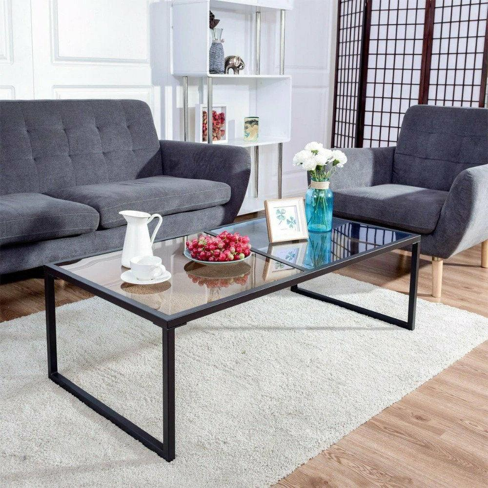 Giantex Rectangular Coffee Table Tempered Glass Metal Frame