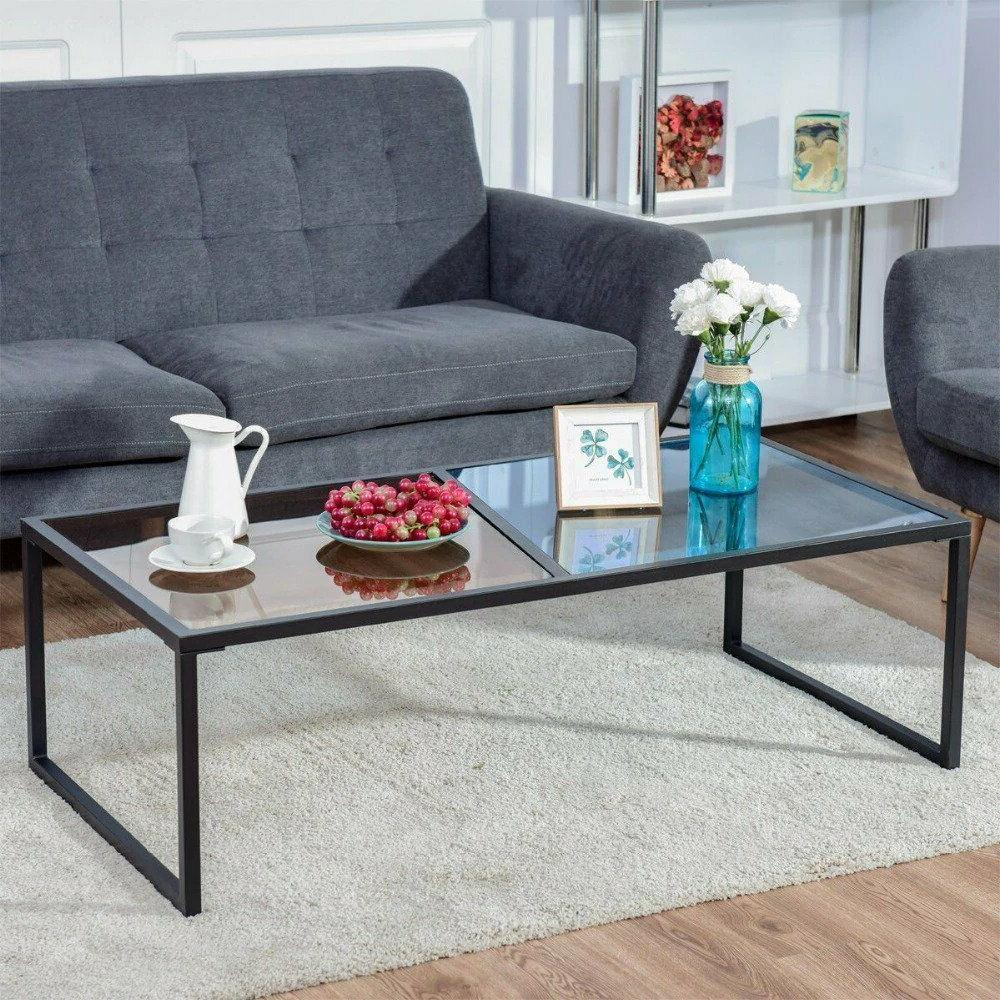 rectangular coffee table tempered glass top metal