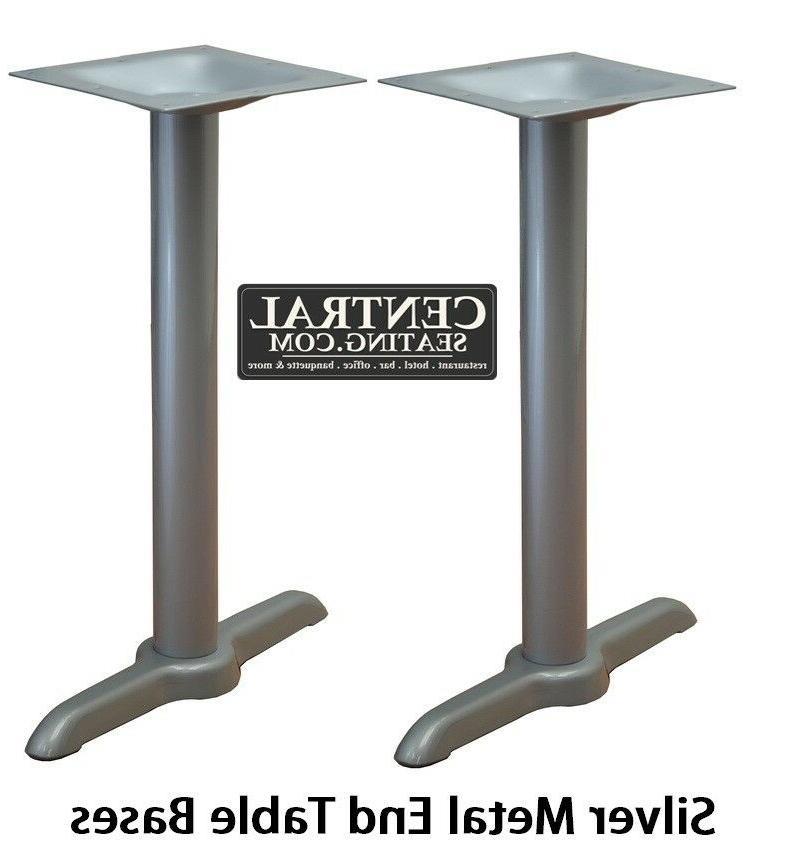 set of 2 silver metal end base