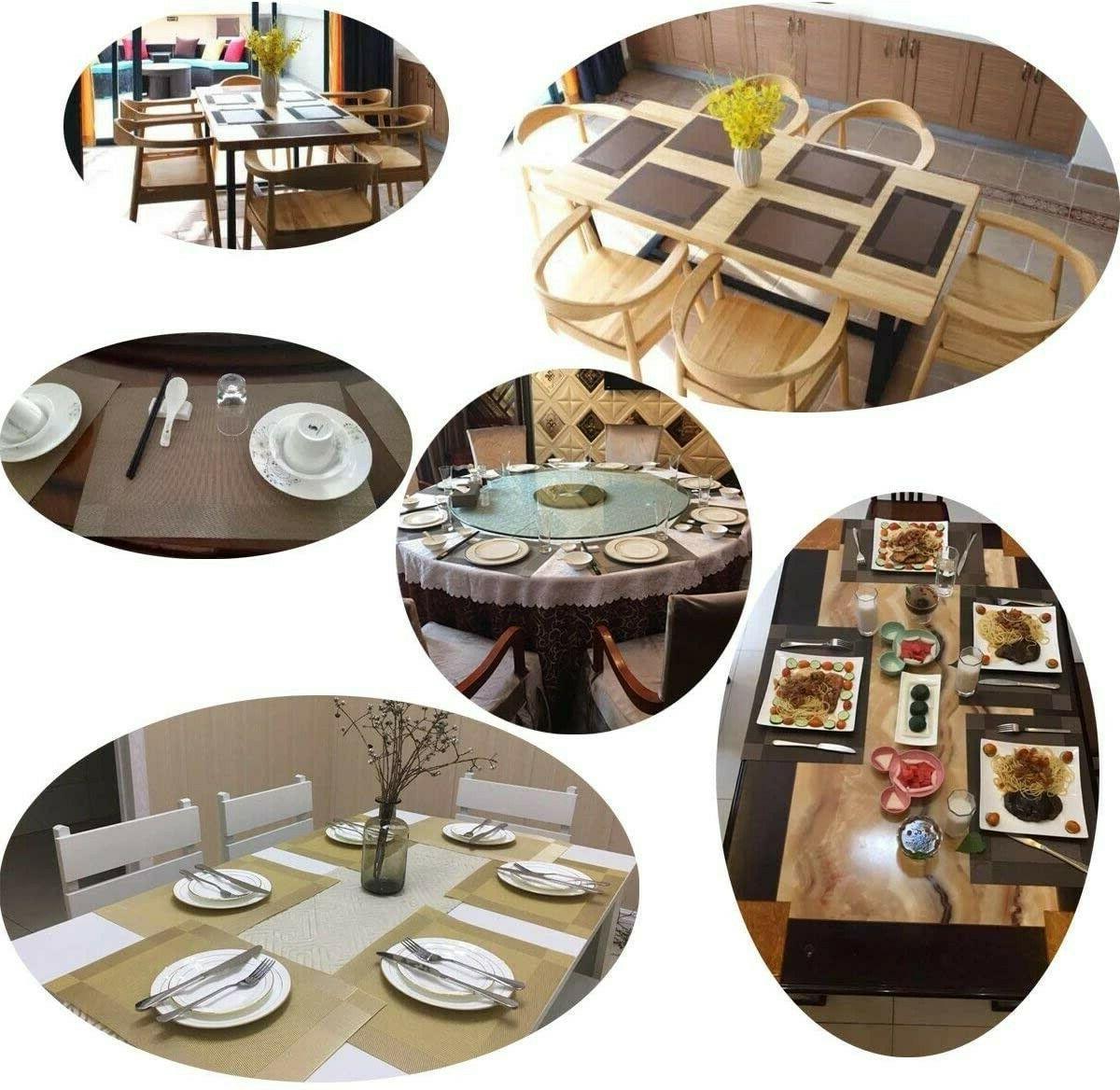 Set 4 Blue PVC Non Slip Table Place 12x18
