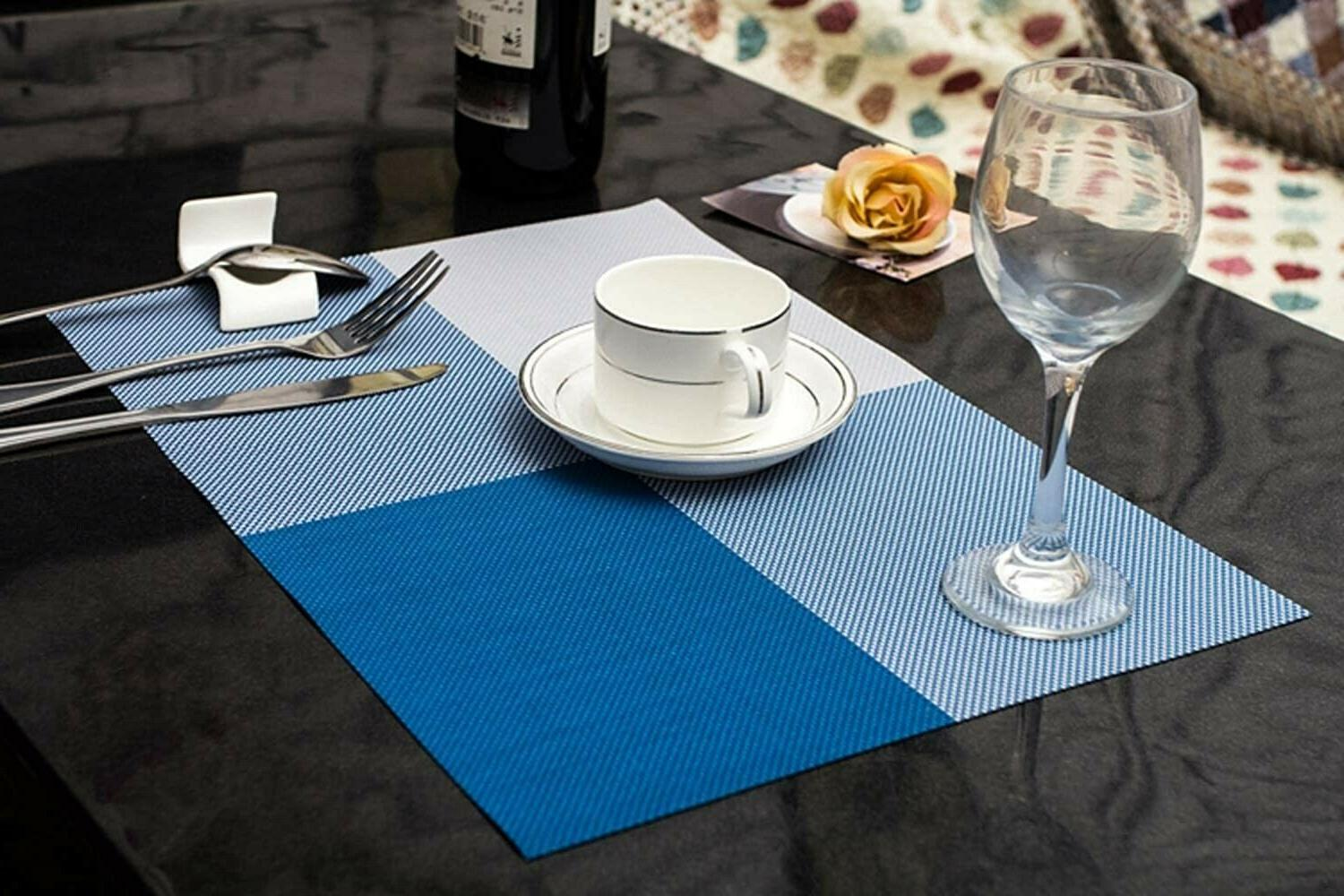 Set of 4 Blue PVC Slip Table Place Mats 12x18 Inches