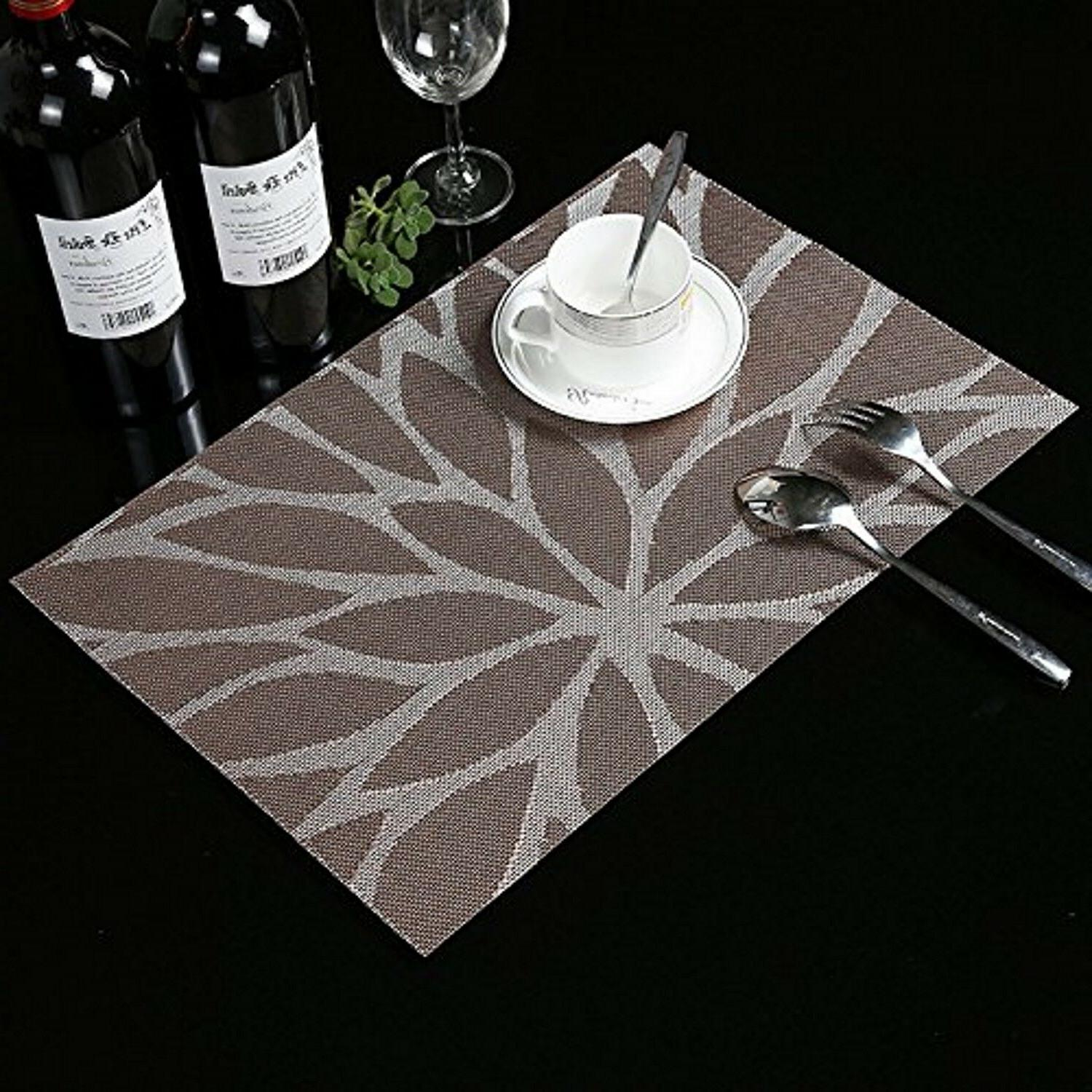 Set of 6 Dining Table Placemats Heat Resistant Woven