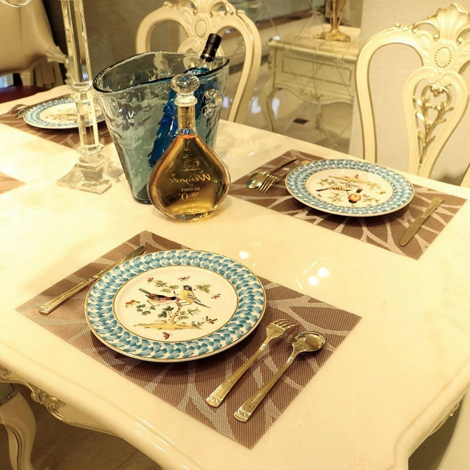 Set Kitchen Dining Table Placemats Washable Heat Woven