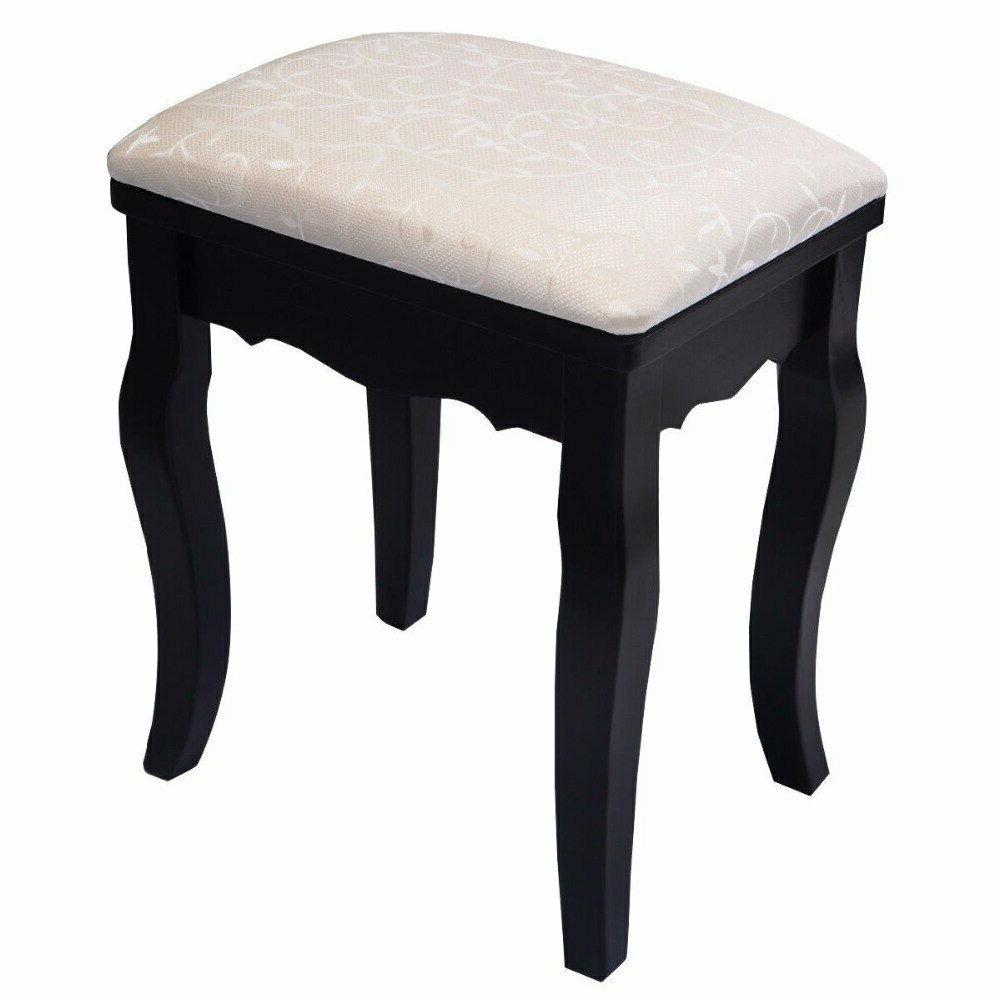 Giantex Mirror Black Set Makeup Table Dresser Stool
