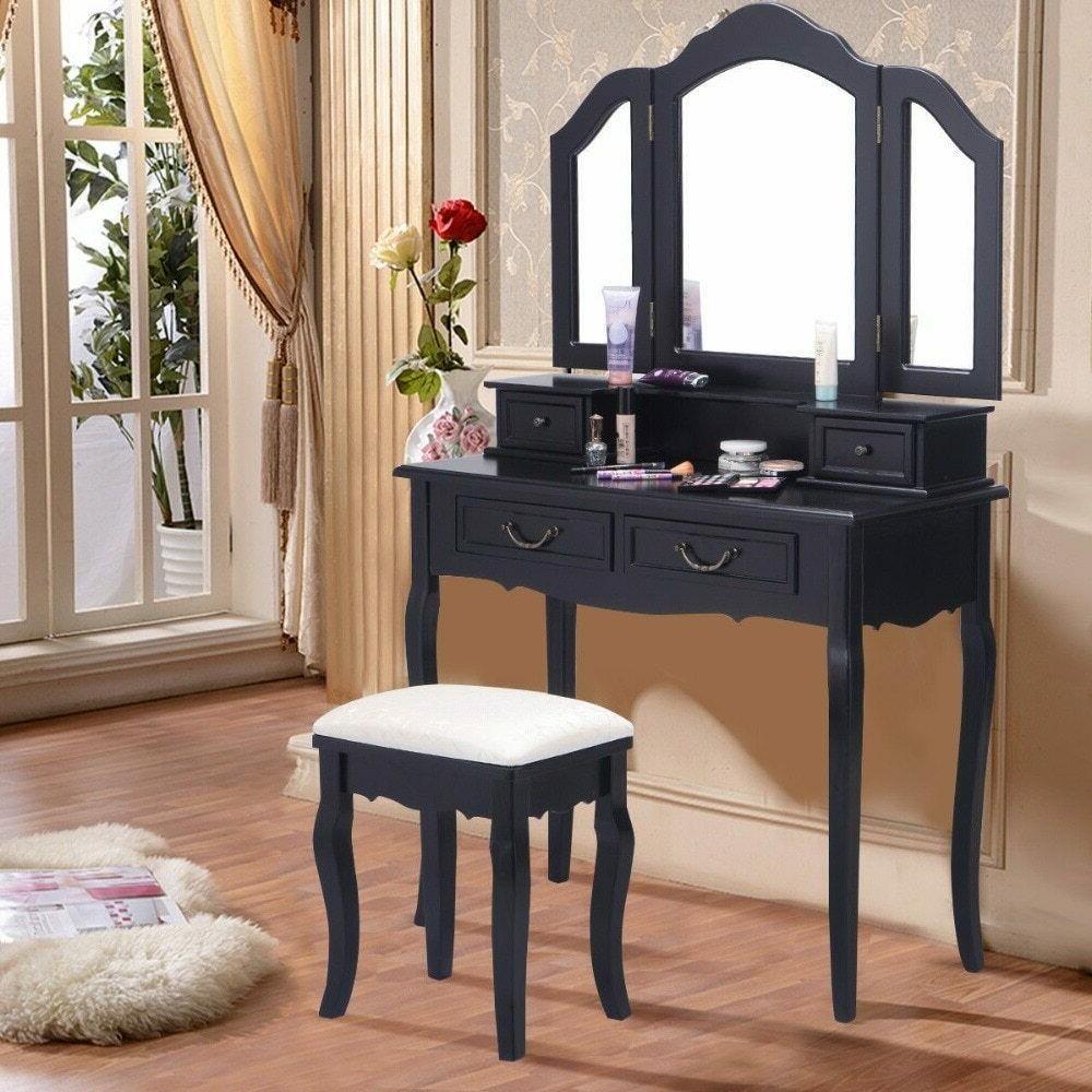 tri folding mirror black wood vanity set