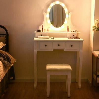 Vanity Lights and Table Stool Set Makeup Dressing 5 Drawers Desk
