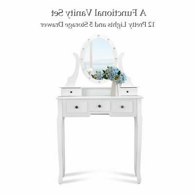 Vanity Mirror with Lights and Makeup Drawers Desk