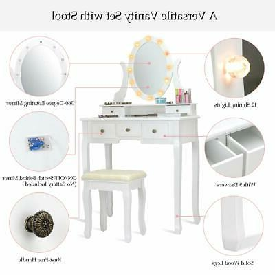 Vanity Mirror with Lights and Table Stool Makeup 5 Desk