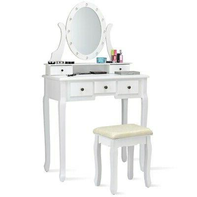 Vanity with Lights and Makeup Desk
