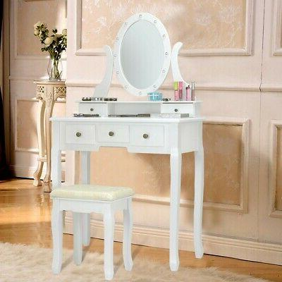 Vanity Mirror with and Table Set Makeup Dressing Desk