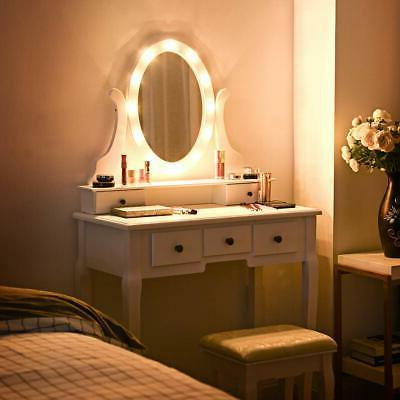 vanity mirror with lights and table stool