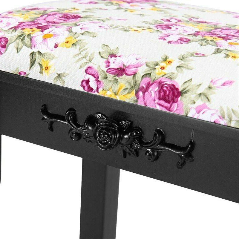 Vanity Wood Dressing Stool Padded Piano Rose