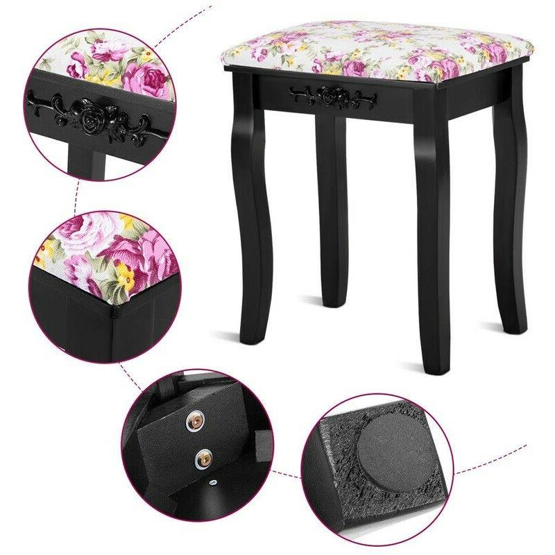 Vanity Padded Piano Seat Rose Makeup Ottoman