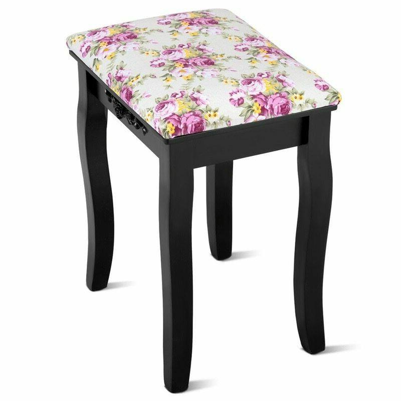 vanity wood dressing stool padded piano seat