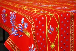 LE CLUNY, LAVENDER RED FRENCH PROVENCE COATED COTTON TABLECL