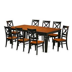 East West Furniture LGQU9-BCH-W 9 Piece kitchen Table Set wi