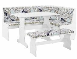 Maggie 3-Piece Breakfast Dining Nook with Coffee Cushions -