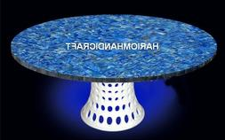 Marble Dining End Table Top Mosaic Lapis Stone Inlay Restaur