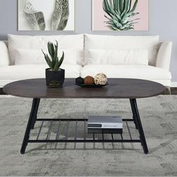 Metal Frame Living Room Coffee Table End Table with Shelf