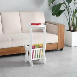 Mobile Small Round Table Balcony Shelf Living Room TV Lap  W