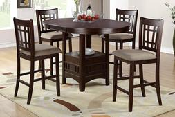 Modern DarkRosyBrown Pub Dining Set 5pcs with LeafRound Tabl