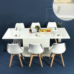 6 PCS Dining Chairs Expandable Wooden Table Modern Dining Ro