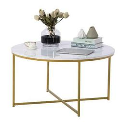Modern Marble Simple  MDF Metal Round Coffee Table Home Furn