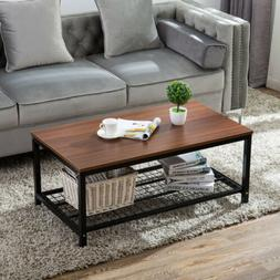 Modern Wood Rectangular Dining Coffee End Table with Shelf L