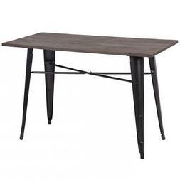 "New 24""*47"" Metal Indoor-Outdoor Resturant Dining Table Wood"