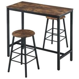 New 3-piece Bar Table Set 2 Round Stools Industrial Style He