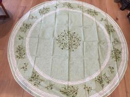 """New! 68"""" Round French Acrylic Coated Cotton Tablecloth, MADE"""