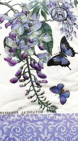 NEW Michel Design Works Wisteria Guest Dinner Napkins 16 Cou