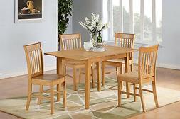East West Furniture NOFK5-OAK-W Norfolk Dining Set