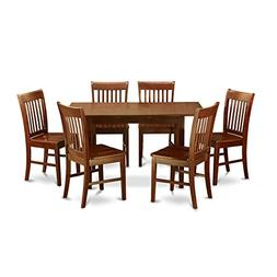 East West Furniture NOFK7-MAH-W 7-Piece Kitchen Table Set