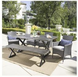 Outdoor 6 Piece Rectangle Aluminum Wicker Dining Set Cushion