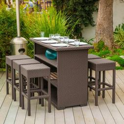 Outdoor Bar Set Lawn Patio Garden Dining Table Stools Chair