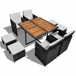 vidaXL Acacia Wood Outdoor Dining Set Poly Rattan Black Tabl