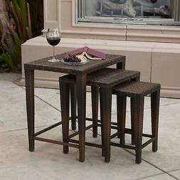 Outdoor Wicker Nested Tables by Christopher Knight Home (Set