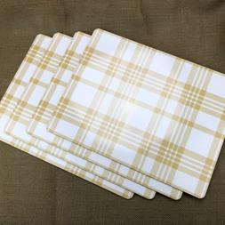 Pack of 4 Threshold Plaid Cork Dining Table Kitchen Placemat