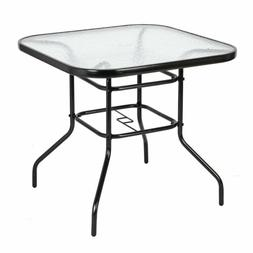Patio Table Outdoor Garden Lawn Glass Top All Weather Dining
