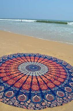 Peacock Mandala Home Decor Cotton Handmade Yoga Mat Table Cl