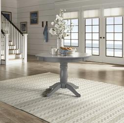 Pedestal Dining Table Round Cottage Furniture Grey Solid Woo