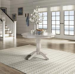 Pedestal Dining Table Round Cottage Furniture White Solid Wo