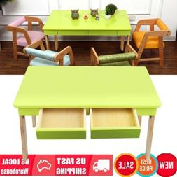 Pine Folding Double Drawers Table Children's Play Study Desk