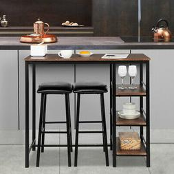 3 Piece Set Pub Table  Bar Stools Dining Furniture Counter H