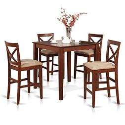 East West Furniture PUBS5-BRN-C 5-Piece Counter Height Dinin